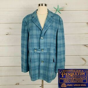 Pendleton VTG 1980's Womens Sz 18 Blue Plaid Coat Jacket Virgin Wool Lined Rare