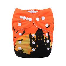 1 Baby Cloth Diaper Nappy Reusable Washable Pocket Halloween Castle Bat Night