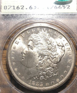 1885-O MS63 CAC Morgan Bright PCGS First Gen Old Green Holder OGH Rattler A1340