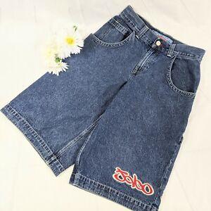 JNCO Jeans Vintage 90s Wide Leg Baggy Skater Rave Denim Patch Shorts Size 30