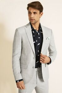 French Connection Mens Grey Flannel Wedding Suit 38 Jacket Short Trousers 32 S
