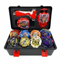 Super King 8pcs Gyro Burst Beyblade Set With Sparkling Launcher With Storage Box