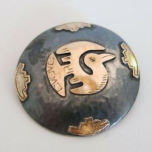 Sterling Silver & 18k Brooch Pendant Peru 8.0g [6377]