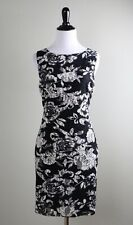 ALICE + OLIVIA $395 Black White Floral Mesh Lace Lined Fitted Dress Size Small