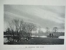 Antica Stampa C1904 PESCA VINTAGE ORMEGGIO la sterlina irlandese & carpa pesca con la mosca fiume