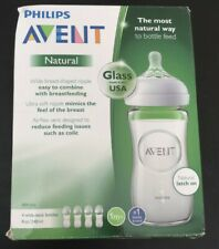 Philips Avent Natural Glass Baby Bottle Clear 8oz 4pk New