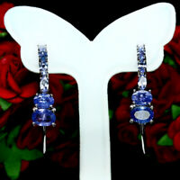 NATURAL BLUE TANZANITE EARRINGS 925 STERLING SILVER