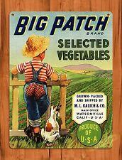 "TIN SIGN ""Big Batch Fruit Vegetable Crate"" Kitchen Ad Poster Kids Decor"