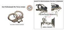 Manette Handcuffs Acciaio Modello Spagnolo Professionali Carabinieri Polizia GDF