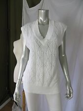 FADED GLORY XL Acrylic White Big Hole Crocheted Sweater Vest Pretty Pullover