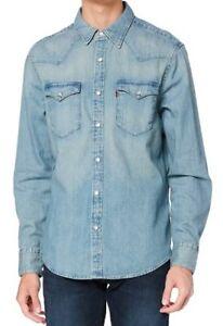 Mens Genuine Levi Barstow Western Standard Fit Blue Denim Shirt - L, XL, XXL