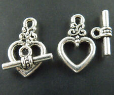 40sets Tibetan Silver Nice Heart Toggle Clasps 20.5x12.5mm 1526