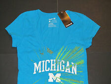 NWT Hurley MICHIGAN Deep V-Neck T-Shirt  Womens Sz S Turquoise Blue Wolverines