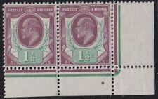 SG 287 1 1/2 D rossastro Viola & Verde Brillante M10 (1) ANGOLO SUPERIORE FOGLIO COPPIA M.M.