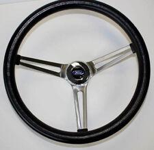 "60 61 62 Ford Falcon GRANT Black Steering Wheel 15"" Stainless Steel Spokes"