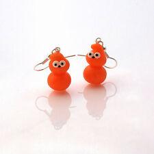 earrings zingy edf drop earrings handmade cute flame orange blob man