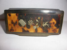 19thc Antique Victorian 1800`s faux tortoiseshell snuff toothpick box stork deco