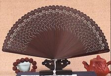 QUALITY Chinese Japanese Folding Bamboo Pocket Bird Rose Flower Hand Fan Brown