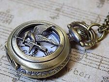 Antique Style Bronze Bird/Arrow Half Hunter  Small Pocket Watch, Neck Chain