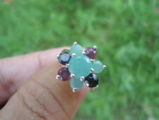 Natural EMERALD, SAPPHIRE & RUBY 925 STERLING SILVER Flower RING  S7.0