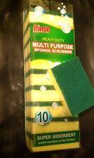 10 Small Sponge Scrubber Scrub Scourer Clean Dish Bathroom Kitchen Spa Scotch