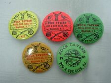 "5 VINTAGE 1977-1981 ROCK TAVERN ROD & GUN CLUB MAYBROOK NEW YORK PINS 1 3/4"""
