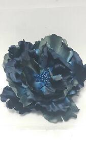 Large 24cm Blue Hair Poppy Fascinator Clip