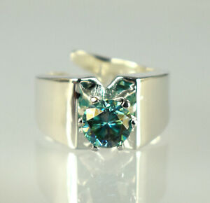 Round Cut 4.03 Ct Green Diamond Solitaire Designer Style Ring Free Certificate