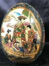 "Vintage 4-3/4"" Hand Painted SATSUMA Porcelain Egg"