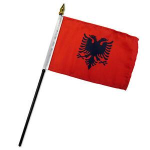 """Albania 4""""x6"""" Flag Desk Table Stick (sewn edges)"""