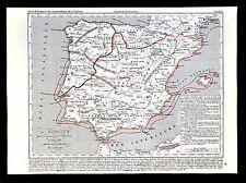 1849 Houze Map Barbarian Invasion of Spain Portugal Vandels Visigoths 409-585 AD