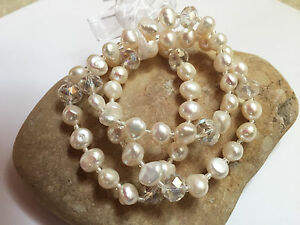 Freshwater Pearl  Bracelets WHITE Beaded Stretch Woman Fashion 3 pcs Wedding