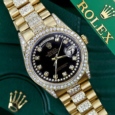 Rolex Presidential Day Date Glossy Black Dial Diamond Watch 18 KT Yellow Gold