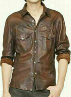 Masculine Edge Design Stretchy Mens Brown Waxy Real Leather Western Shirt AZ10