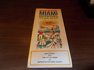 1960s Miami Tour Map / Vintage Map Issued by City of Miami