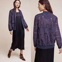 New Anthropologie Elevensees Miranda Lace Bomber Jacket Floral Womens Size XS