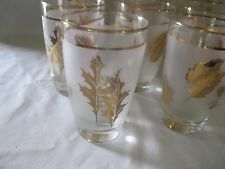 "Vintage Libbey Frosted Gold Leaf Glasses 4.5"" Tall"