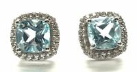 Sterling Silver 925 Cushion Faceted Blue Aquamarine / CZ Halo stud Post Earrings