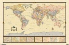 WORLD MAP POSTER antique style 34x22 new free shipping