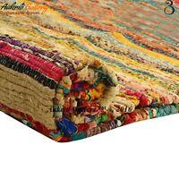Indian Rag Rug Home Floor Decor Runner Cotton Yoga Mat 5'x3'