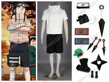 Custom-made Naruto Shippuden Hyuga Neji White Short Sleeves Cosplay Costume Set