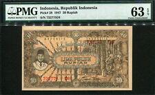 Indonesia 1947, 50 Rupiah, 732775 D1, P28, PMG 63 EPQ UNC