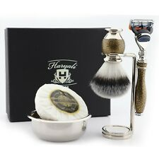 mens 5 blade razor shaving brush with Soap, stainless steel Bowl Christmas Gift