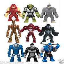 Hot 9pcs/lot Big Minifigures Iron Man Rhino Groot Venom hulk buster build toys