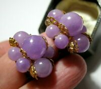 Vintage Jewellery Funky Retro Lilac Cluster Celluloid Plastic Clip On EARRINGS