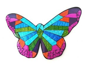 Mosaic/wood teal & pink Butterfly wall art plaque decoration L40cm x W28cm-NEW