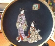 Antique Japanese Satsuma Pottery Geisha Plate, Signed
