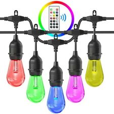 Outdoors String Lights, 48FT RGB LED String Lights Waterproof Commercial Grade