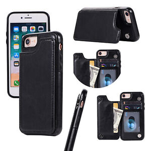 Card hybrid wallet tough hard strong case cover Apple iphone 7 8 X XR 11 12 Pro