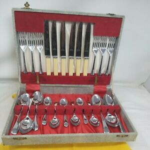 Vintage Firth Sheffield Chrome Plate Stainless Steel Canteen Cutlery 24 Piece